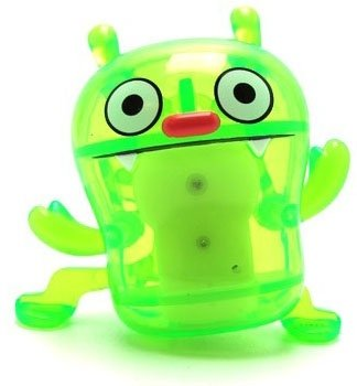 Big Toe - Clear Green figure by David Horvath, produced by Pretty Ugly Llc.. Front view.