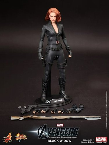 Black Widow figure, produced by Hot Toys. Front view.