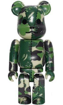 Bape Play Be@rbrick 100% S3 - Green figure by Bape, produced by Medicom Toy. Front view.