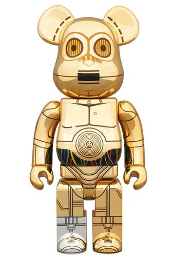 C-P3O Be@rbrick 400% figure by Lucasfilm Ltd., produced by Medicom Toy. Front view.