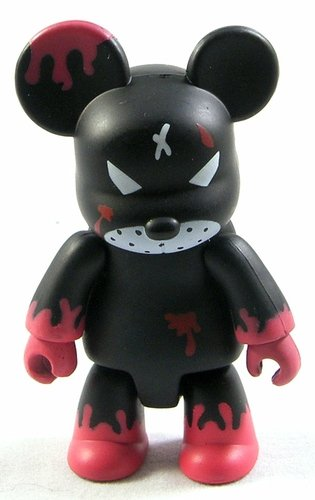Redrum Black and Red figure by Frank Kozik, produced by Toy2R. Front view.