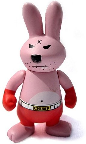 Mookie figure by Frank Kozik, produced by Kidrobot. Front view.