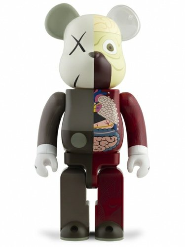 Dissected Companion Be@rbrick 400% - Brown figure by Kaws, produced by Medicom Toy. Front view.