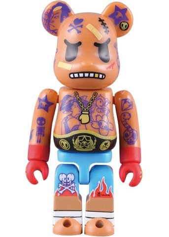 Tokidoki Fighter Be@rbrick 100% figure by Simone Legno (Tokidoki), produced by Medicom Toy. Front view.