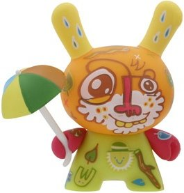 Rain dunny figure by Jon Burgerman, produced by Kidrobot. Front view.