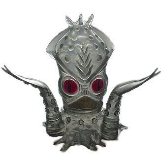Ika-Gilas - Clear Grey w/ Red Eyes figure by Frank Kozik, produced by Wonderwall. Front view.