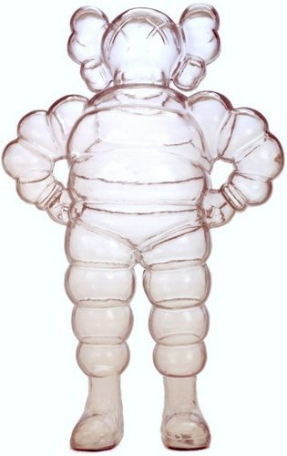 Chum - Clear figure by Kaws, produced by 360 Toy Group . Front view.
