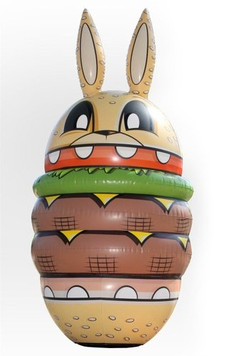 Burger Bunny Bop Bag figure by Joe Ledbetter, produced by The Loyal Subjects. Front view.