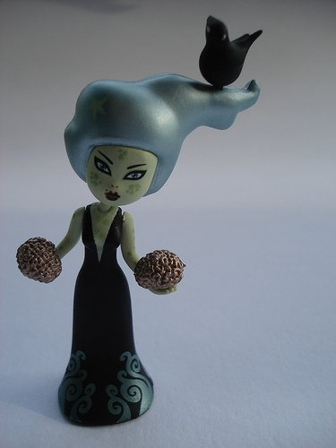 zombirella figure by Tara Mcpherson, produced by Kidrobot. Front view.