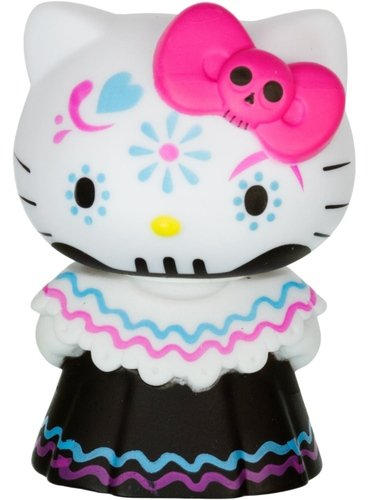 Hello Kitty Horror Mystery Minis - Pink Bow Calavera Day of the Dead figure by Sanrio, produced by Funko. Front view.