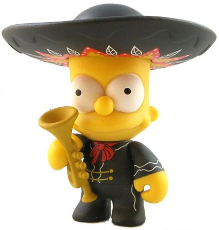 Mariachi Bart figure by Matt Groening, produced by Kidrobot. Front view.