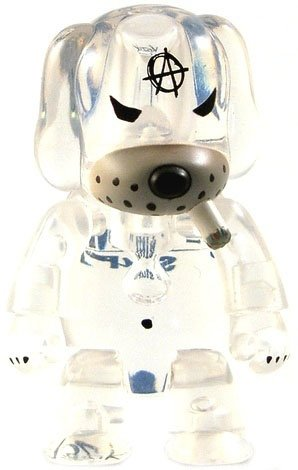 Anarqee Clear Dog figure by Frank Kozik, produced by Toy2R. Front view.