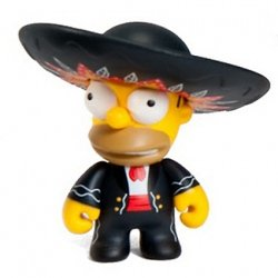 Mariachi Homer figure by Matt Groening, produced by Kidrobot. Front view.