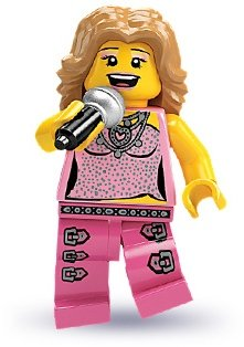 Pop Star figure by Lego, produced by Lego. Front view.