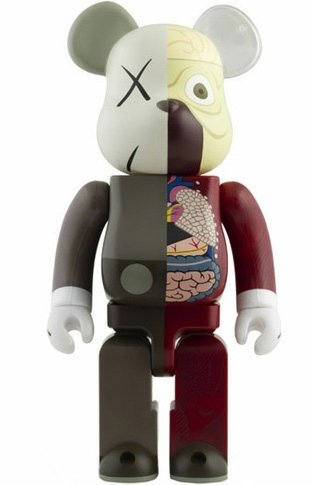 Dissected Companion Be@rbrick 1000% - Brown figure by Kaws, produced by Medicom Toy. Front view.