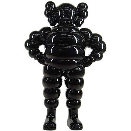 Chum - Black figure by Kaws, produced by 360 Toy Group . Front view.