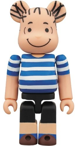 Linus Be@rbrick 100% figure by Charles M. Schulz, produced by Medicom Toy. Front view.