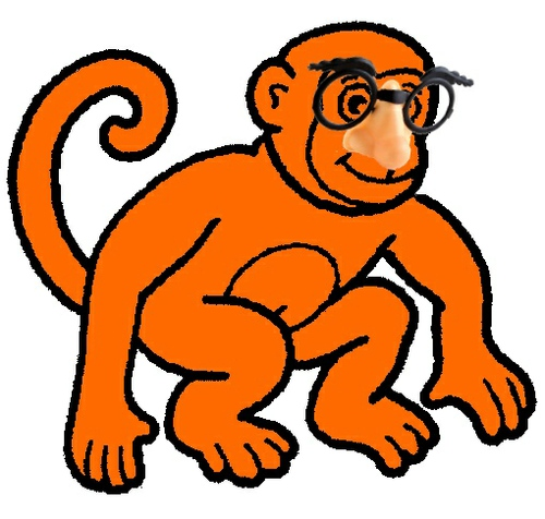Orange Monkey with Funny Glasses, unpainted