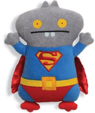 Babo Superman figure by David Horvath X Sun-Min Kim, produced by Pretty Ugly Llc.. Front view.