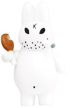 Mini Smorkin Labbit figure by Frank Kozik, produced by Kidrobot. Front view.
