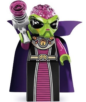 Alien Villainess figure by Lego, produced by Lego. Front view.