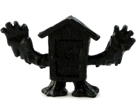 Phantom Shithouse - Black figure by Kyle Thye, produced by October Toys. Front view.