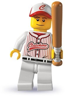 Baseball Player figure by Lego, produced by Lego. Front view.