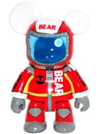 Red Racer Bear figure by Steven Lee, produced by Toy2R. Front view.