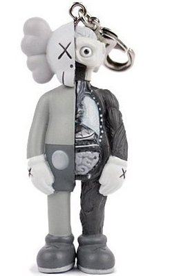 Dissected Companion Keychain - Mono figure by Kaws, produced by Medicom Toy. Front view.