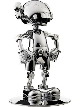 No Future Companion figure by Kaws X Hejima Sorayama, produced by Medicomtoy. Front view.