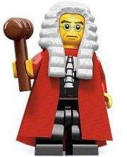 Judge figure by Lego, produced by Lego. Front view.