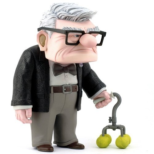 Carl Fredricksen figure by Pixar, produced by Hot Toys. Front view.