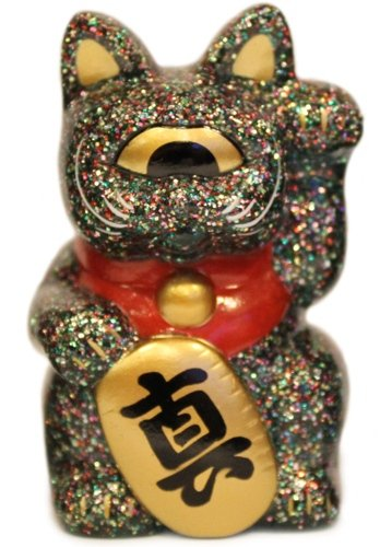 Mini Fortune Cat - Hyper Mixed Lamé figure by Mori Katsura, produced by Realxhead. Front view.