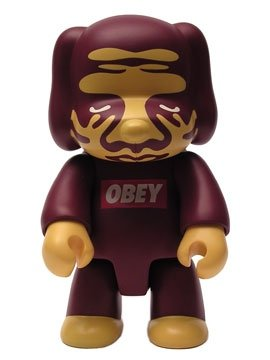 Obey Dog figure by Shepard Fairey, produced by Toy2R. Front view.