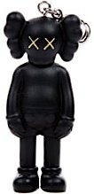 Companion Keychain - Black  figure by Kaws, produced by Original Fake. Front view.