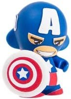 Captain America Marvel Micro Munny figure by Marvel, produced by Kidrobot. Front view.