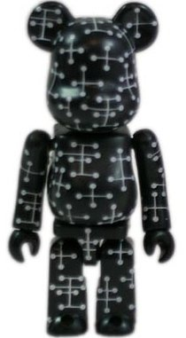 Eames - Secret Black Pattern Be@rbrick Series 9 figure by Eames Office, produced by Medicom Toy. Front view.