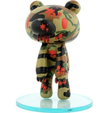 Gloomy Bear - Camo figure by Mori Chack, produced by Kidrobot. Front view.
