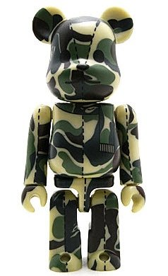 Bape Play Be@rbrick S1 - Green Camo figure by Bape, produced by Medicom Toy. Front view.