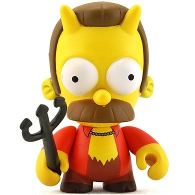 Flanders figure by Matt Groening, produced by Kidrobot. Front view.