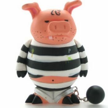 Bosco - Jail Variant figure by Frank Kozik, produced by Kidrobot. Front view.