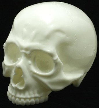 Skull Head 1/1 - Crazy Glow figure, produced by Secret Base. Front view.