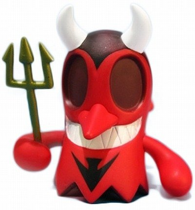 Diablo BoOoya figure by Jeremy Madl (Mad), produced by Kidrobot. Front view.