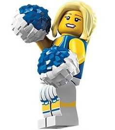Cheerleader figure by Lego, produced by Lego. Front view.