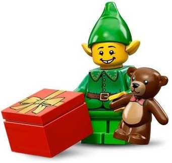 Holiday Elf figure by Lego, produced by Lego. Front view.