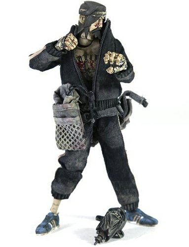 Fighting JC figure by Ashley Wood, produced by Threea. Front view.