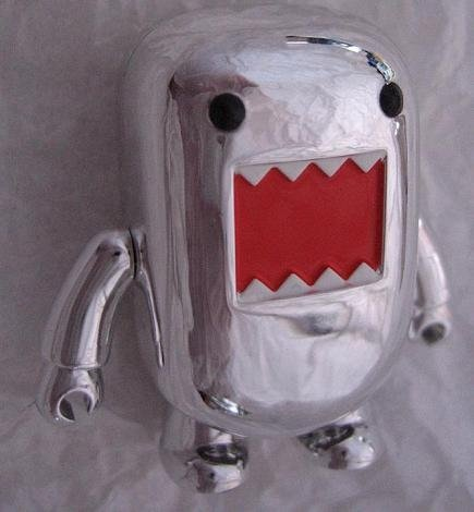 Domo Qee S1 Chrome/Silver figure by Toy2R, produced by Toy2R. Front view.