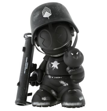 Kidrobot Mascot 17 - Sgt. Robot, Black figure by Dave White, produced by Kidrobot. Front view.