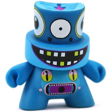 Dalek - Blue figure by Dalek, produced by Kidrobot. Front view.