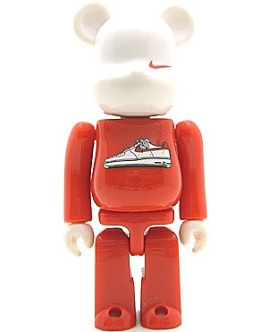 Nike AF1 Be@rbrick 100% figure by Nike, produced by Medicom Toy. Front view.